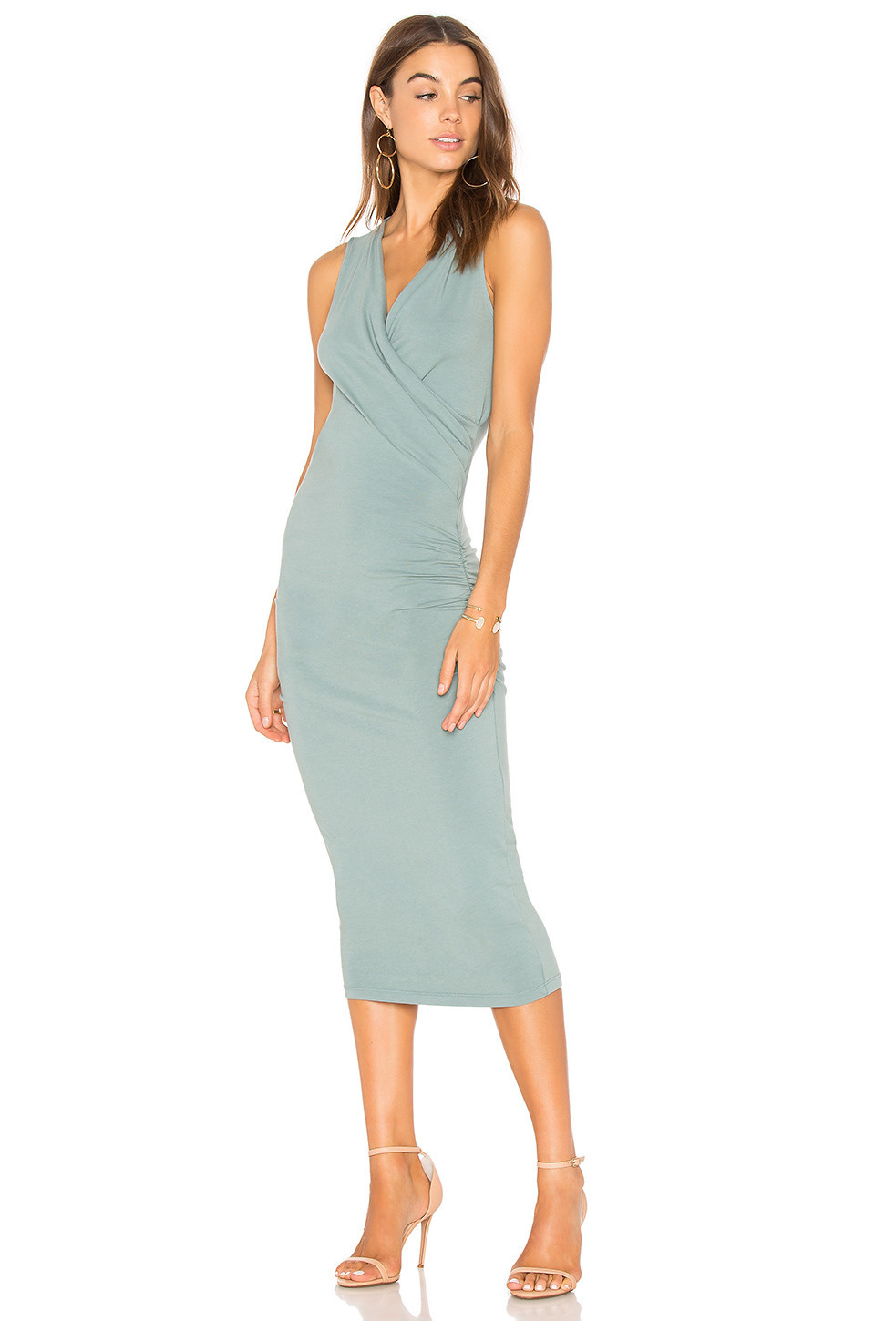Michael Stars Faux Wrap Tank Midi Dress in green