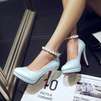 shoes blue heels sexy girly pearl footwear feminine high heels pumps