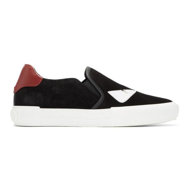Fendi Black & White Suede 'Bag Bugs' Sneakers