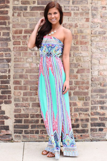 Dress: print, maxi dress, slit, strapless, strapless dress, cute ...