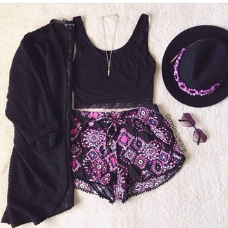shorts fashion style summer shorts black pants cardigan