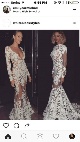 dress white long dress white lace dress gown formal dress candice swanepoel beyonce