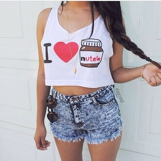 tank top nutella print crop tops nutella crop top