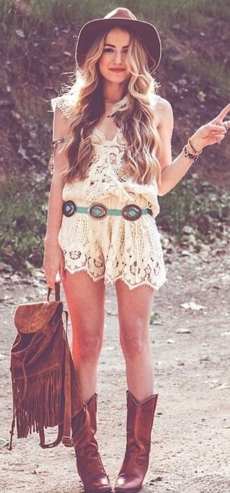 belt mint blue country bag shoes boots blouse lace boho bohemian shorts hat brown cowboy