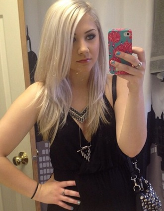 jewels aztec style necklace tribal necklace blonde hair silver hair gossip girl black dress h and m platinum hair