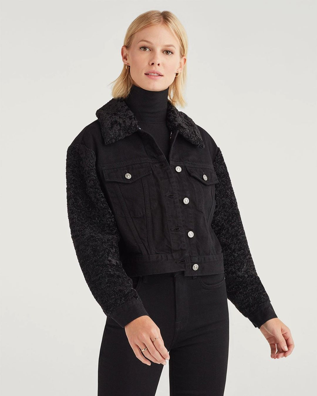 Jacket with Removable Faux Fur Collar in Overdyed Black