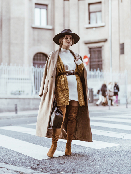 cardigan tumblr mustard mustard cardigan dress knit knitwear knitted cardigan knitted dress coat camel camel coat camel long coat monochrome outfit boots brown boots hat
