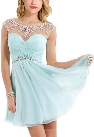 dress aqua dress short dress homecoming dress short homecoming dress homecoming dress beads