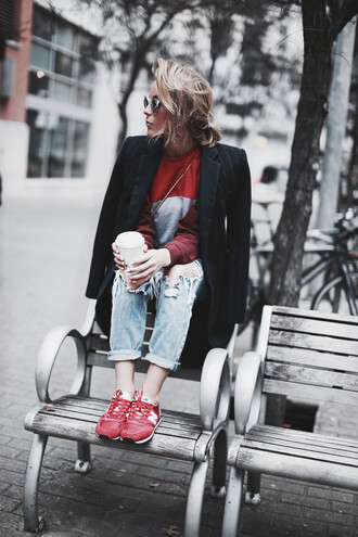 happily grey blogger nike sneakers ripped jeans black coat red shoes sweater bag coat jewels