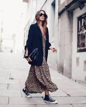 dress,leopard print dress,maxi dress,blazer,chuck taylor all stars,handbag,black sunglasses