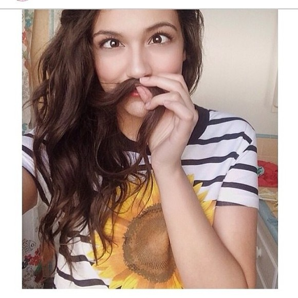 shirt stripes bethany mota sunflower