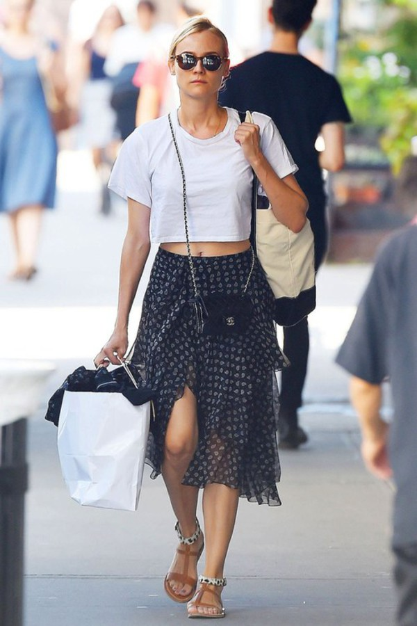 top skirt diane kruger sandals