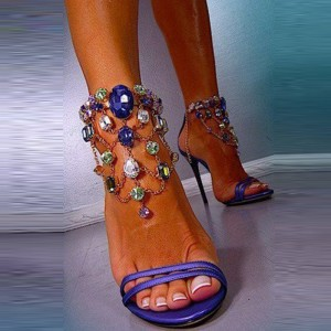 Women's Purple Rhinestone Dress Shoes Ankle Strap Stiletto Heels Sandals