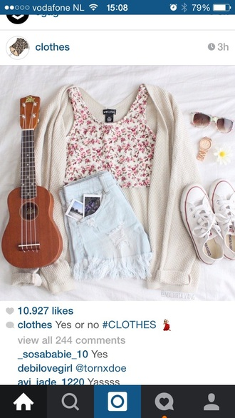 shorts blue shorts floral tank top white top pink top converse