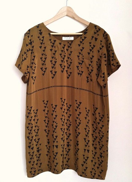 dress printed dress brown dress