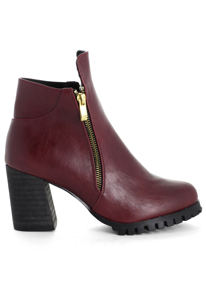 Zipper Chunky Heel Ankle Boots in Wine - Retro, Indie and Unique Fashion