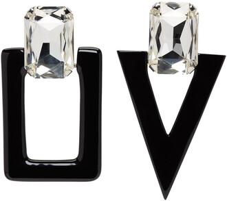 earrings silver black jewels