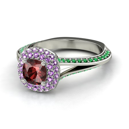 Cushion Red Garnet 14K White Gold Ring with Amethyst & Emerald | Elena Ring (6mm gem) | Gemvara