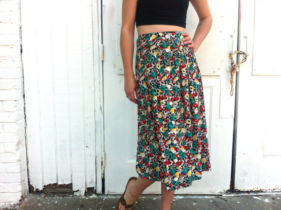 jupe longue floral / 90 s jupe maxi / vert par ANYClothingDesigns