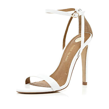 White barely there stiletto sandals - heels - shoes / boots - women