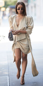 dress,asymmetrical,asymmetrical dress,pumps,kat graham,nude,nude dress,celebrity