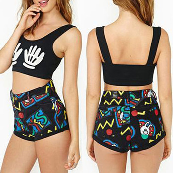 Wholesale New 2014 Hot Woman Women Sexy Sleeveless Belly  Palm Printed Black Bare midriff Crop Tops Short Shirt Tee-in T-Shirts from Apparel & Accessories on Aliexpress.com