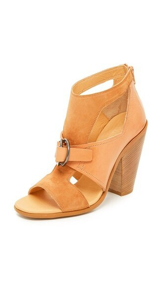 open tan booties shoes