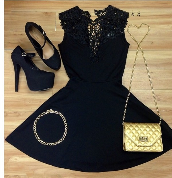 dress black dress stilettos purse necklace earrings shoes black heels heels with straps little black dress dress date outfit wedding dress prom dress homecoming dress