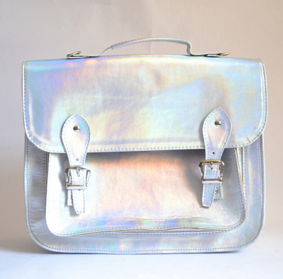 bag purse holographic fashion style silver cool shiny metallic handbag metalic