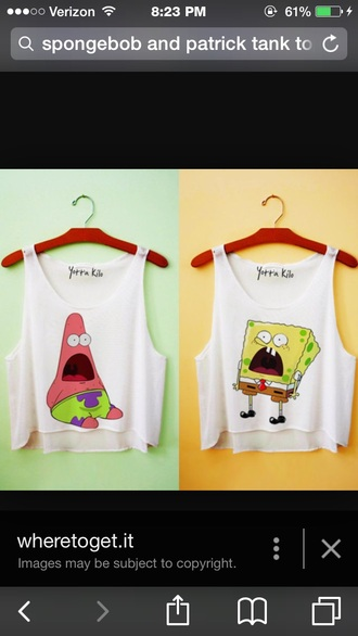 tank top yellow and pink crop tops spongebob and patrick