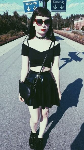 blouse shirt crop tank grunge alternative sexy black dark goth crop tops v neck skirt bag jewels all black everything shoes