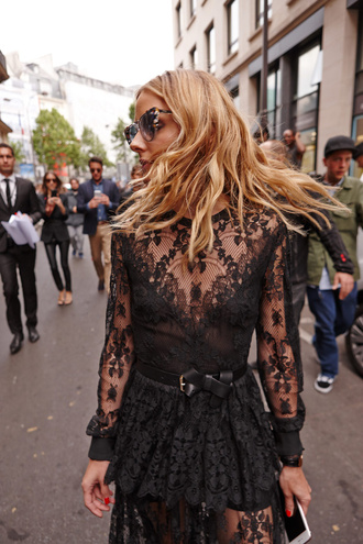 dress tumblr black lace dress lace dress black dress long sleeves long sleeve dress olivia palermo sunglasses cat eye belt