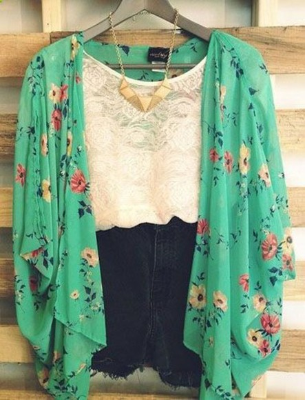 cardigan blouse floral lace cami black shorts teal