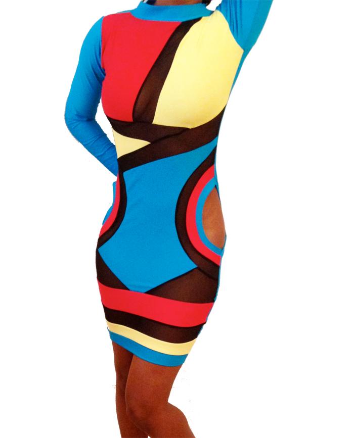 Wardrobe Query: Keyshia Ka'oir's Instagram Blush by B Allen Multicolored Turquoise, Yellow, and Pink Semi Sheer Mesh Mini Bodycon Killa Dress