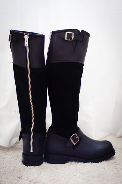 Shoes: black, boots, brown, leater, gold, long, zip, zipper boots ...