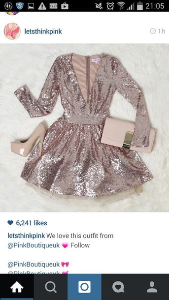 dress pink dress sequin dress sequins skater dress v neck dress