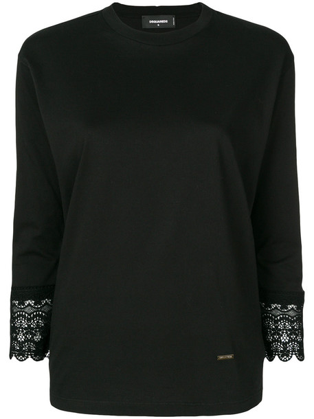 Dsquared2 top women lace cotton black