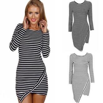 dress striped dress stripes black and white stripes