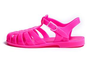 shoes neon pink neon pink sandals flat sandals plastic transparent gorgeous flashy
