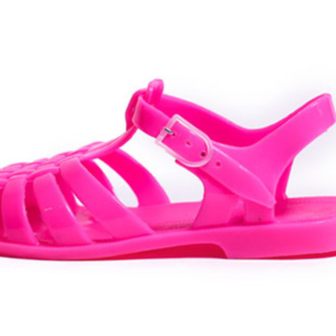 sandals shoes neon pink neon pink flat sandals plastic see