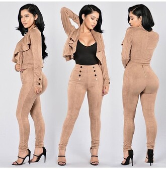 pants outfit idea outfit summer outfits fall outfits cute outfits date outfit spring outfits party outfits two piece dress set two-piece high heels shoes heels 5 inch and up sexy shoes summer top suede summer shoes party shoes high waisted skinny pants high waisted pants jacket long sleeves clothes fashion stylish style