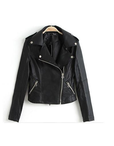 Leather zipper jacket motorcycle coat