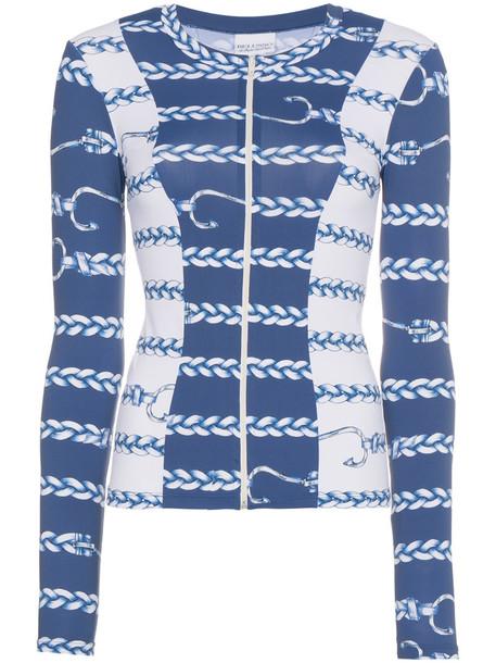 jacket style women nautical spandex print blue