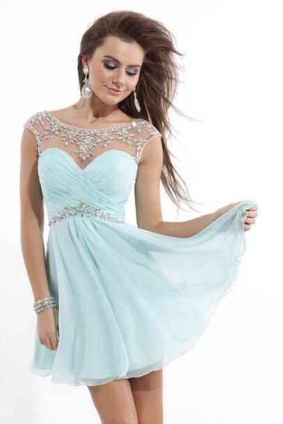 dress prom dress homecoming dress prom short cute pretty prom dress blue gorgeous dress