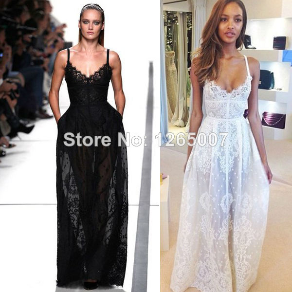 Aliexpress.com : Buy 2014 New Arrival Elie Saab Spaghetti Traps V Neck Lace See through Prom Dress Fashion Gowns Glitter Dress from Reliable dress elegant suppliers on SFBridal