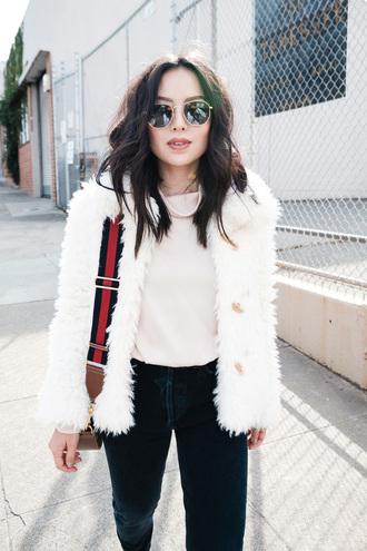 jacket tumblr fuzzy jacket white jacket top turtleneck pants sunglasses bag