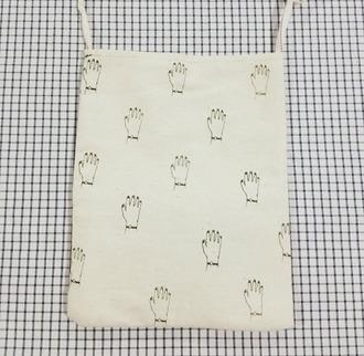 white bag bag leather bag pouch cotton woven cotton bag woven bag hands hand print