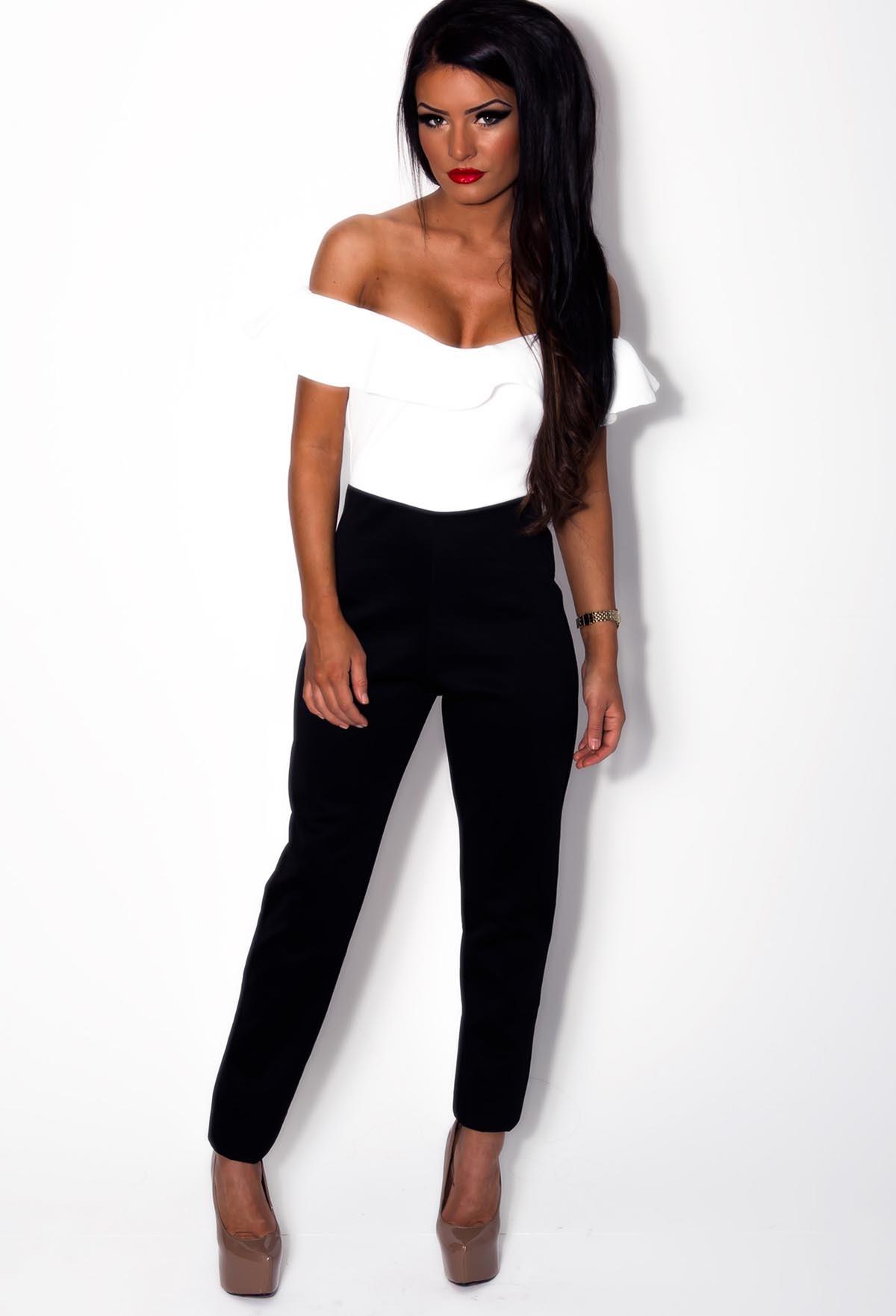 White & Black Frill Top Off Shoulder Jumpsuit | Pink Boutique