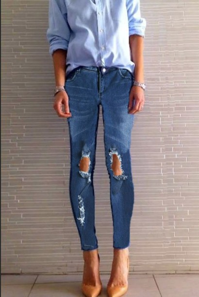 Jeans: ripped jeans, blue, dark, skinny jeans, ripped knee skinny ...