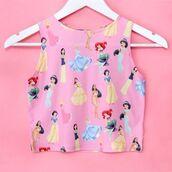 tank top,disney,blouse,pink,crop tops,disney princess,girly,top,shoes,high heel sandals,gold sandals,high heels